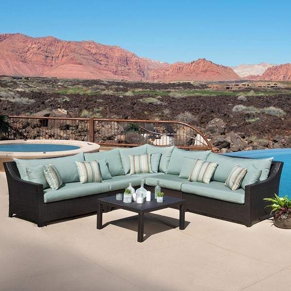 RST Brands Bliss 6-piece Corner Sectional Sofa and Coffee Table Patio Furniture Set