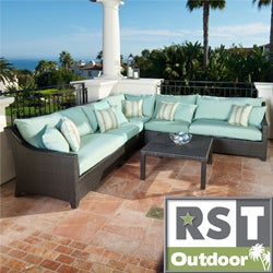 RST Outdoor Bliss 6-Piece Corner Sectional Sofa and Coffee Table Patio Furniture Set