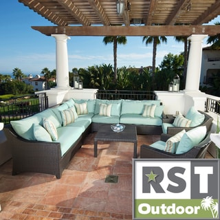 RST Outdoor Bliss 9-Piece Corner Sectional Sofa and Club Chairs Patio Furniture Set