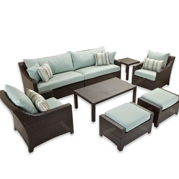 RST Brands Bliss 8-piece Sofa, Club Chair and Ottomans Patio Set with Accent Pillows