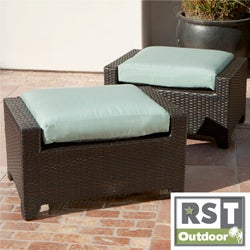 RST Outdoor Bliss Patio Furniture Club Ottomans (Set of 2)