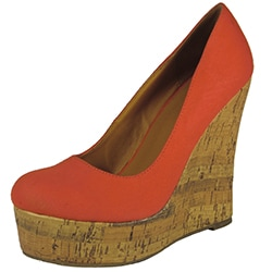Betani by Beston Women's Cork Wedge Canvas Pumps