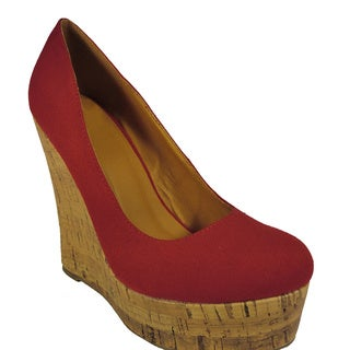 Betani by Beston Women's Red Wedge Heels