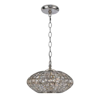 Transitional Antique Silver 3-Light Crystal Pendant Light Fixture