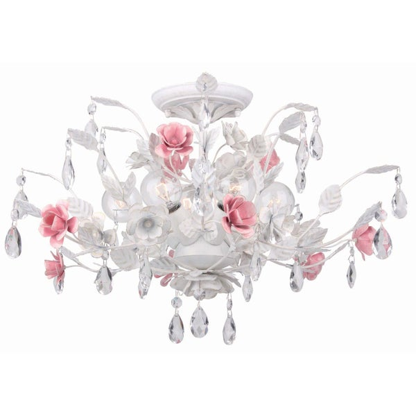 Transitional Antique White 6-light Semi-flush Light Fixture