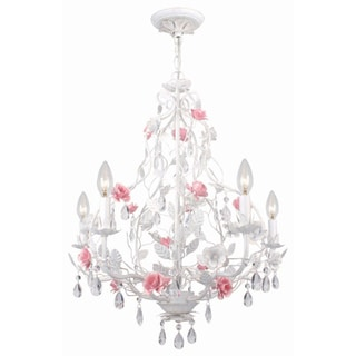 Transitional Antique White 5-Light Chandelier
