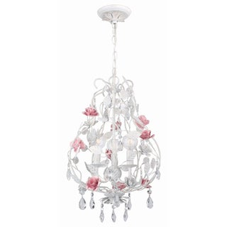 Transitional Antique White 3-light Chandelier