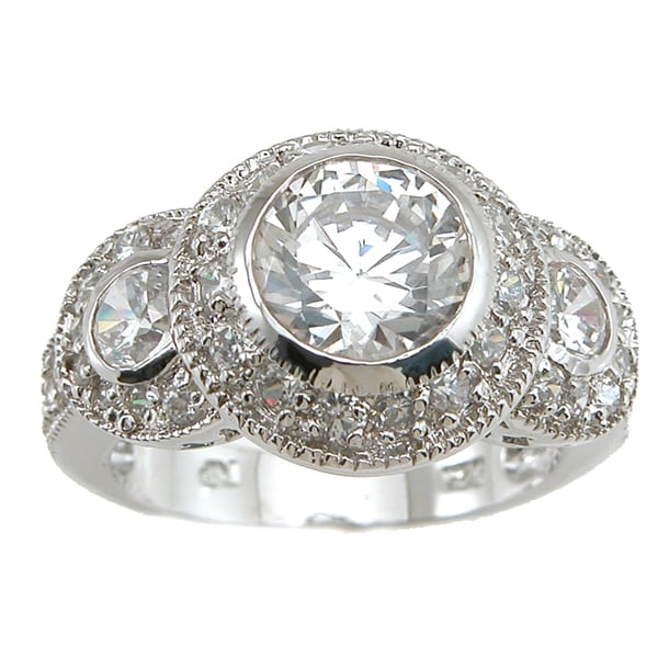 Plutus Rhodium Finish Sterling Silver 3 TCW Cubic Zirconia Antique Wedding-style Ring
