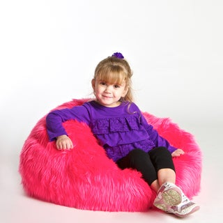 Sullivan Children's Neon Pink Faux Fur Bean-bag Lounge Chair