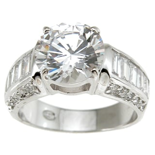 Plutus Sterling Silver Cubic Zirconia Antique Wedding-style Ring