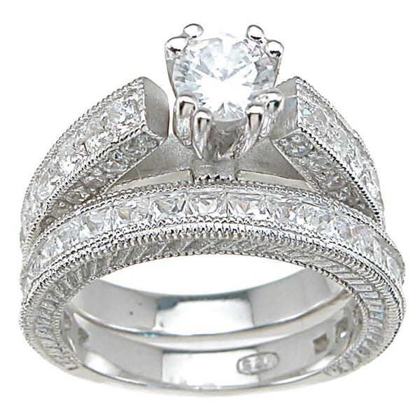 Plutus Sterling-Silver Round-Cut Cubic Zirconia Antique Bridal-Style Ring Set