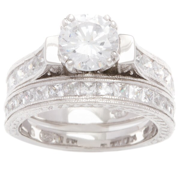 Plutus 1 carat Round Sterling Silver Cubic Zirconia Bridal-style Ring Set