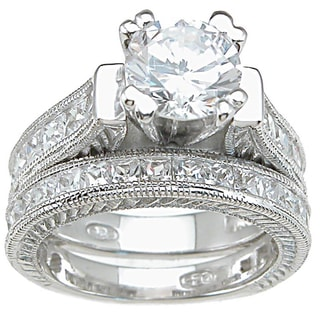 Plutus Sterling Silver Cubic Zirconia Bridal-style Ring Set