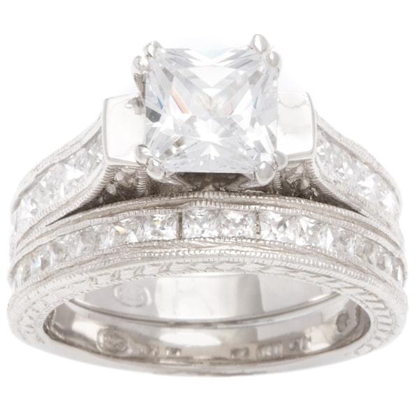 Plutus Sterling-Silver 1 1/2 carat Princess-Cut Cubic Zirconia Antique Bridal-style Ring Set