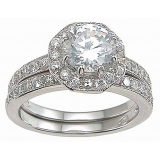 Plutus Sterling Silver Cubic Zirconia Antique Bridal-style Ring Set
