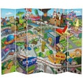6-Foot Tall Double Sided Springfield Town Map Canvas Room Divider