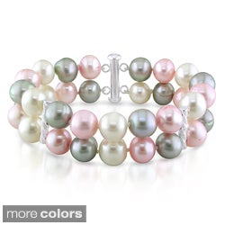 Miadora Silver White, Pink and Grey Pearl Stretch Bracelet (9-10 mm)