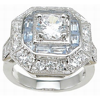 Sterling Silver Round and Baguette Art Deco Cubic Zirconia Anniversary-style Ring