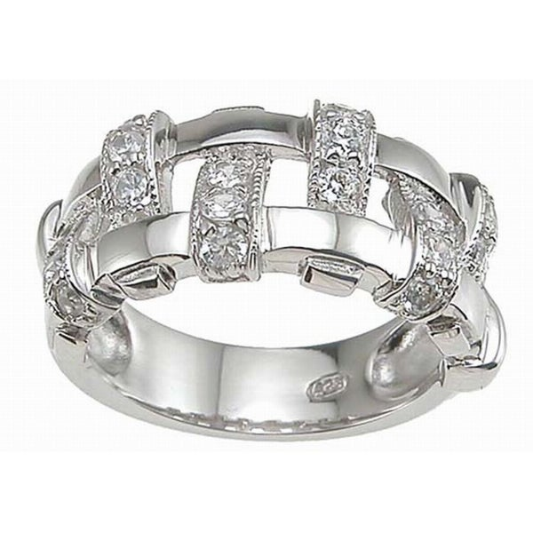 Sterling Silver Cubic Zirconia Pave Anniversary-style Ring