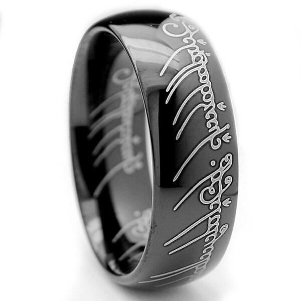 Tungsten Carbide Unisex Black-plated Laser-etched Elvish Script Ring