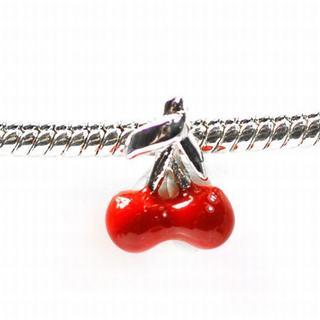 De Buman Sterling Silver Enamel Cherry Charm Bead