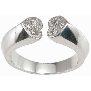 Sterling Silver Cubic Zirconia Heart Pave Anniversary-style Ring
