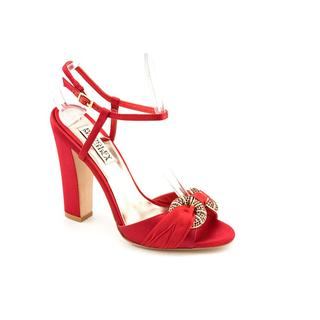 Badgley Mischka Women's 'Jeweled' Red Satin Dress Shoes