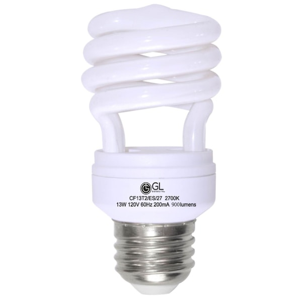 Goodlite G-10840 13-Watt CFL 60 Watt Replacement 900-Lumen T2 Spiral Light Bulb, 15,000 hour life Soft White 3500k (Case of 25) 10512702