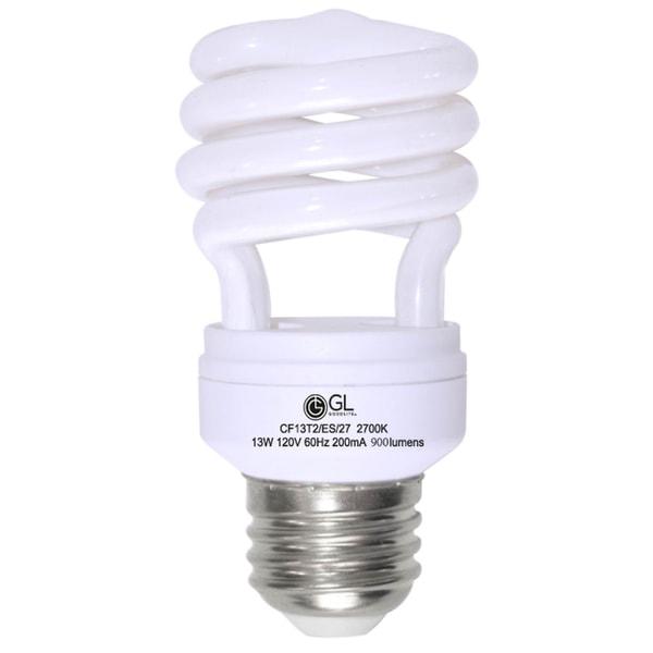 Goodlite G-10841 13-Watt CFL 60 Watt Replacement 900-Lumen T2 Spiral Light Bulb 12,000 Hour Life Cool White 4100k (Case of 25) 10513015
