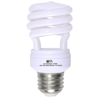 Goodlite G-10842 13-Watt CFL 60 Watt Replacement 900-Lumen T2 Spiral Light Bulbs 10,000 Hour Life Super White 5000k (Case of 25)