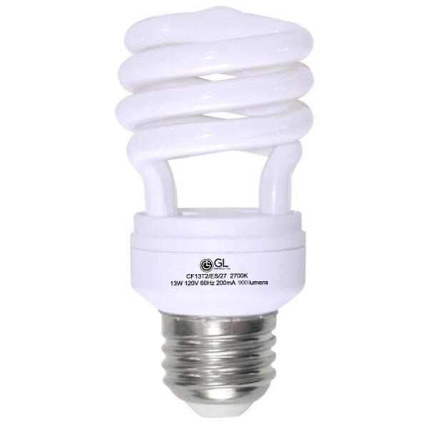 Goodlite G-10842 13-Watt CFL 60 Watt Replacement 900-Lumen T2 Spiral Light Bulbs 10,000 Hour Life Super White 5000k (Case of 25) 10513027