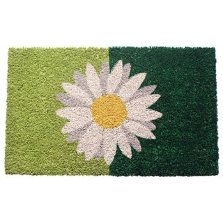 One Daisy on Green Coir Doormat