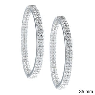 La Preciosa Sterling Silver Cubic Zirconia Double Row Hoop Earrings