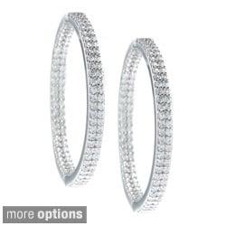 La Preciosa Sterling Silver Cubic Zirconia Double Row Hoop Earrings