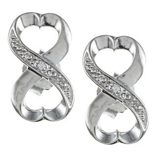 La Preciosa Sterling Silver Cubic Zirconia Heart Infinity Earrings