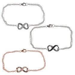 La Preciosa Sterling Silver Cubic Zirconia Heart Infinity Bracelet