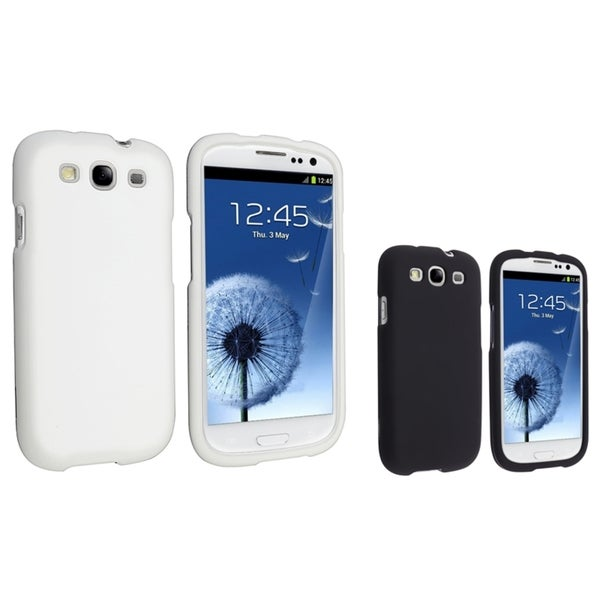 INSTEN Black/ White Rubber Coated Phone Case Covers for Samsung Galaxy S III/ S3
