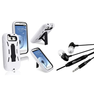 BasAcc Black/ White Hybrid Case/ Headset for Samsung Galaxy S III/ S3