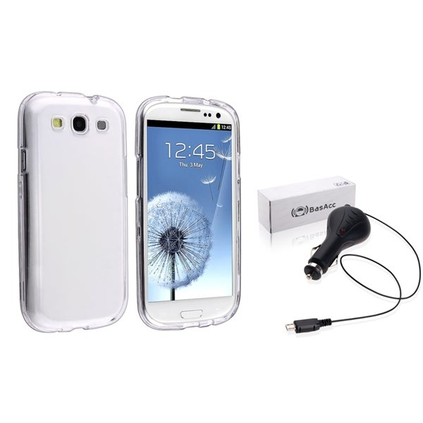 INSTEN Phone Case Cover/ Retractable Car Charger for Samsung Galaxy S III/ S3