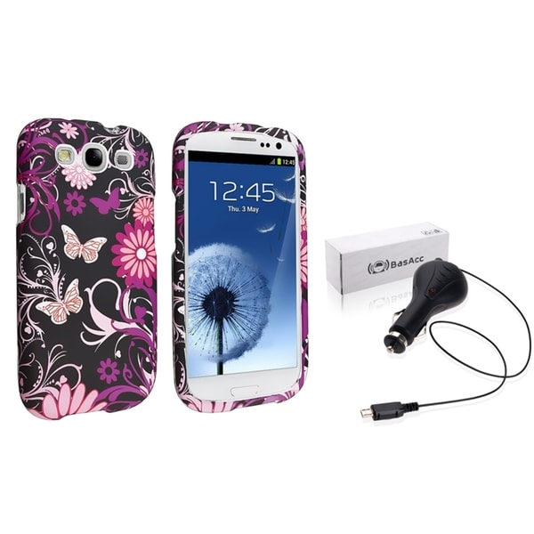 INSTEN Phone Case Cover/ Retractable Car Charger for Samsung Galaxy S3/ S III