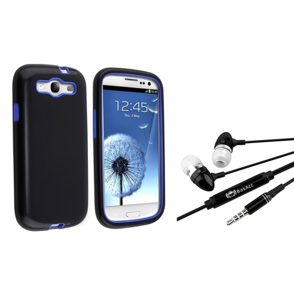 BasAcc Blue/ Black Hybrid Case/ Headset for Samsung Galaxy S III/ S3