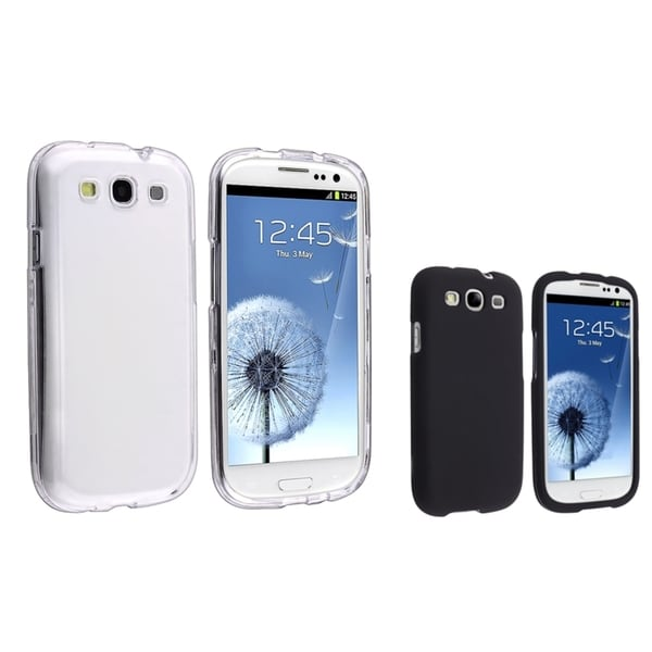 INSTEN Black/ Clear Snap-on Phone Case Covers for Samsung Galaxy S III/ S3