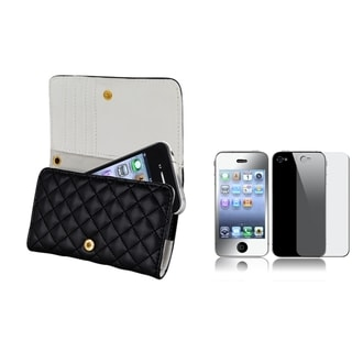 INSTEN Black Leather Phone Case Cover/ Mirror LCD Protector for Apple iPhone 4/ 4S