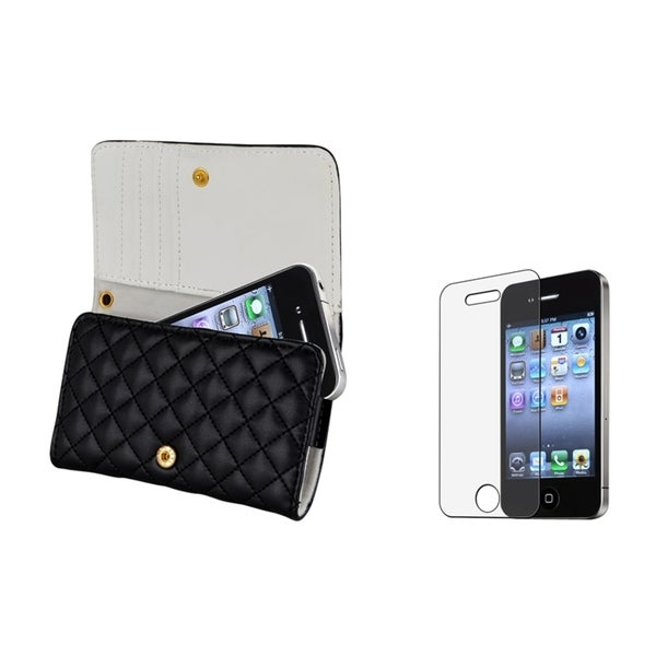 INSTEN Leather Phone Case Cover/ Anti-glare LCD Protector for Apple iPhone 4/ 4S