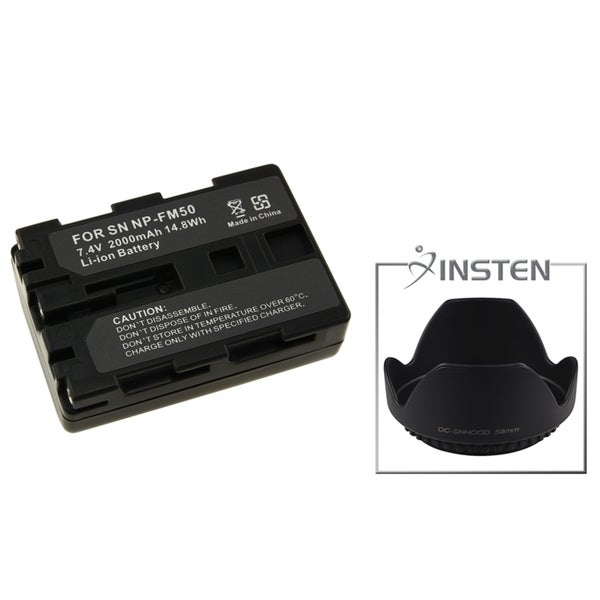INSTEN Battery/ Lens Hood for Sony DSLR/ NP-FM55H