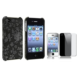 BasAcc Embossed Case/ Mirror Screen Protector for Apple iPhone 4/ 4S