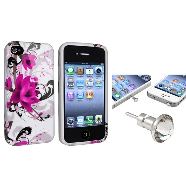 INSTEN TPU Phone Case Cover/ Clear Diamond Dust Cap for Apple iPhone 4/ 4S