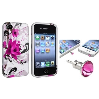 BasAcc TPU Case/ Pink Diamond Dust Cap for Apple iPhone 4/ 4S