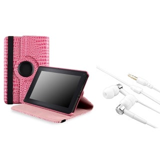 BasAcc Pink Leather Case/ Headset for Amazon Kindle Fire