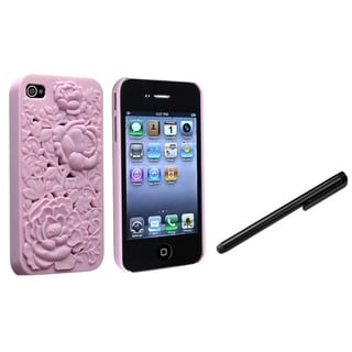 BasAcc Pink 3D Rose Case/ Black Stylus for Apple iPhone 4/ 4S